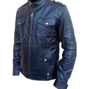 Men Black Genuine Real Biker Leather Jacket Front Pockets