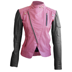 Leather Skin Women Pink with Black Sleeves Shoulder Quilted Brando Genuine Leather Jacket