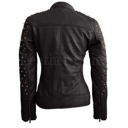 Leather Skin Women Black Shoulder Quilted with Gold Studs Studded Genuine Leather Jacket