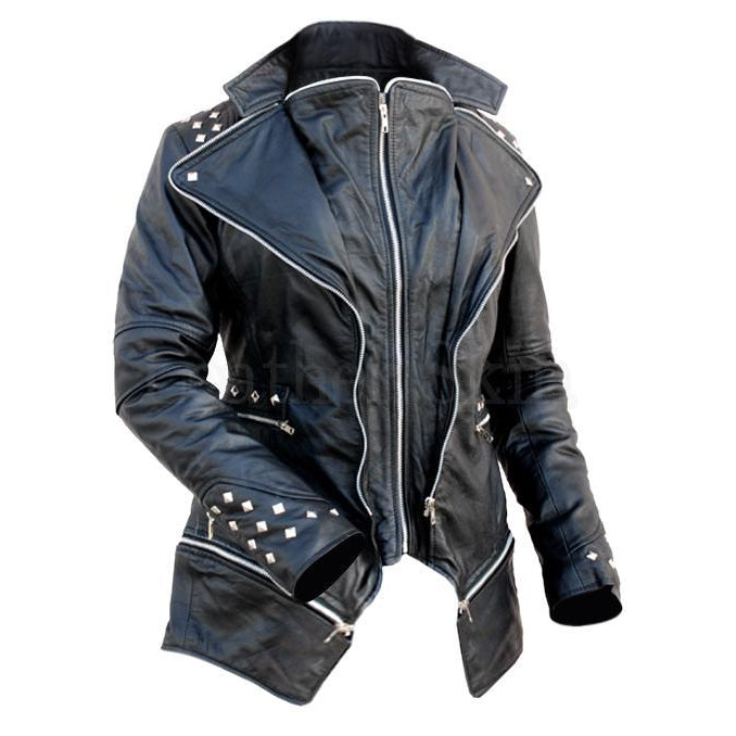 Women Black Leather Jacket with Spiked on Shoulder