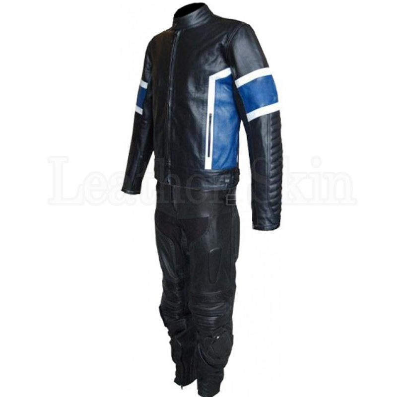 Men Black Genuine Biker Leather Suit with Blue Patches