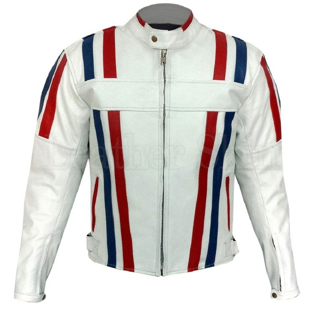 Men White Genuine Biker Blue Red Stripes Leather Jacket