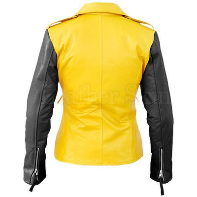 Leather Skin Women Yellow Brando Genuine Leather Jacket with Black Sleeves