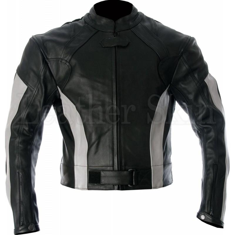 Motorcycle Leather Jacket for Men with White Stripes Patches
