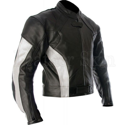 Men Black Biker Leather Jacket with White Stripes