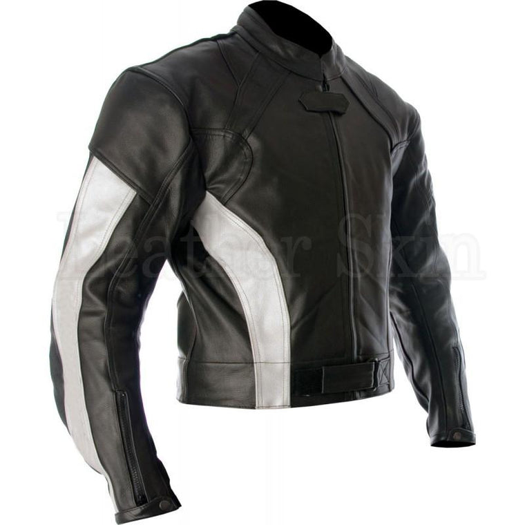 Leather Skin Black White Stripes Biker Motorcycle Racing Genuine Leather Jacket