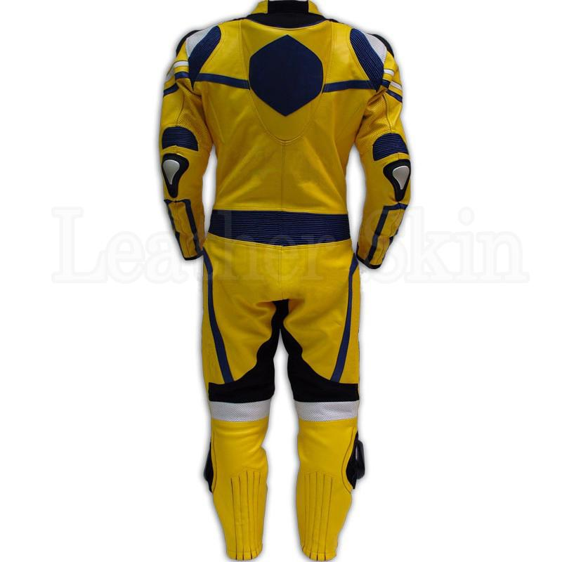 Men Yellow Real Leather Suit (Back)