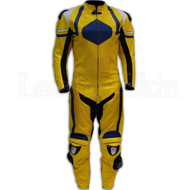 Yellow Motorcycle Genuine Leather Suit for Men