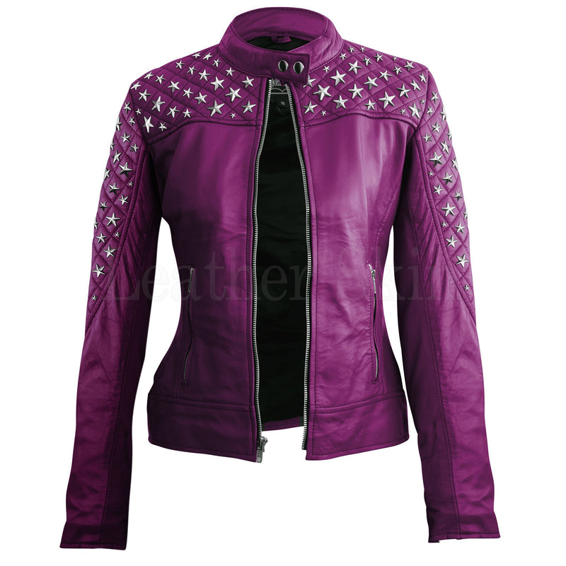 Leather Skin Women Purple Star Silver Studs Quilted Genuine Leather Jacket