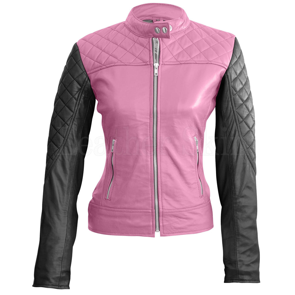 Leather Skin Women Pink with Black Sleeves Shoulder Quilted Genuine Leather Jacket