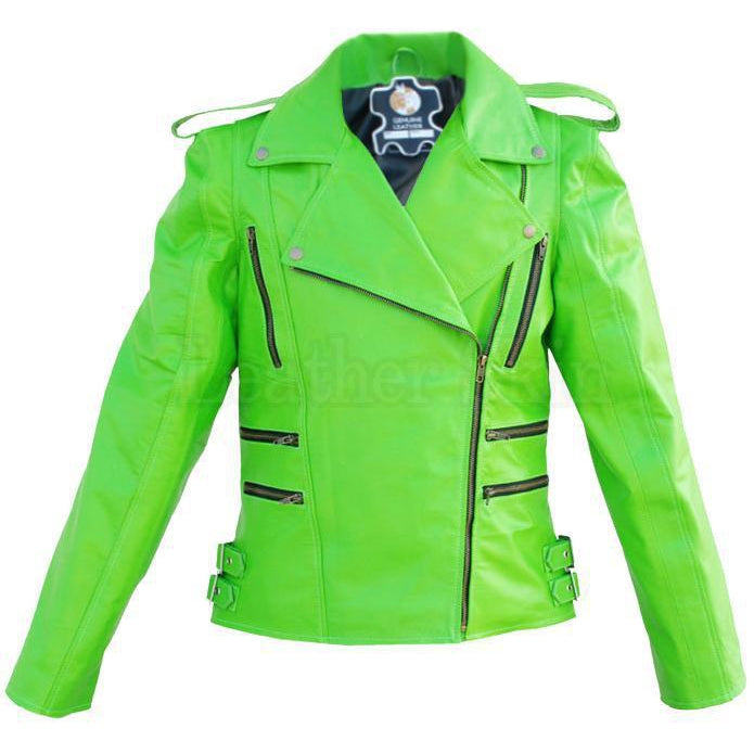 Women Parrot Green Genuine Leather Jacket with shoulder epaulettes