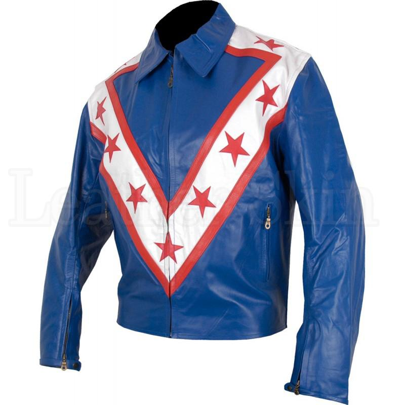 Men USA Blue Leather Jacket with Red Stars