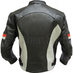 Men Genuine Leather Jacket in Black Color with White Stripes
