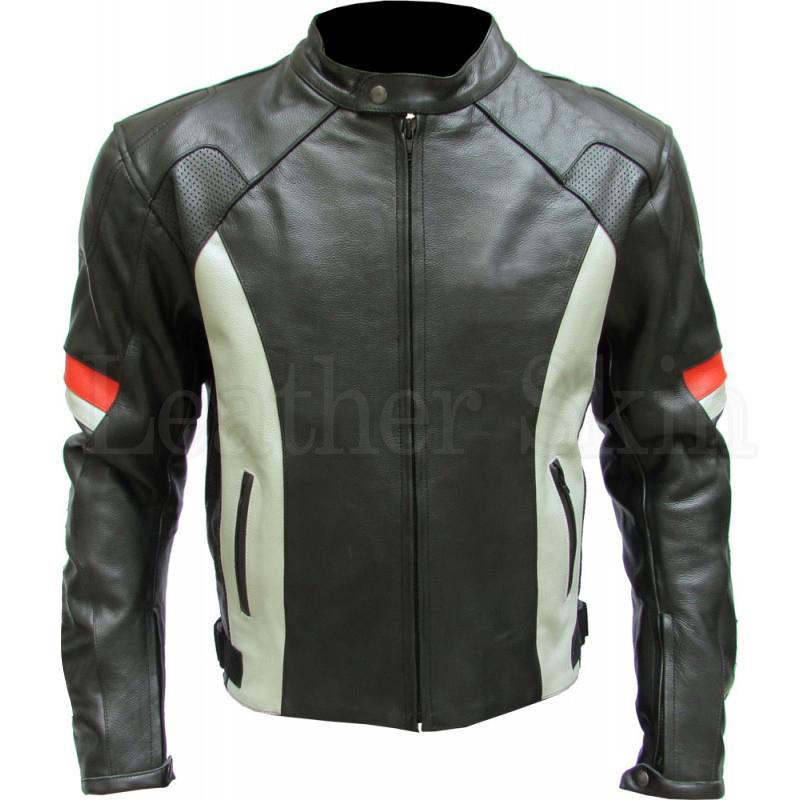 Men Black Biker Genuine Leather Jacket with White Stripes