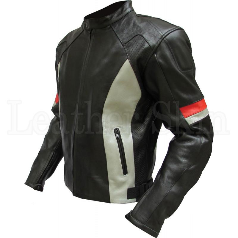 Men Black Motorcycle Genuine Leather Jacket with White Stripes