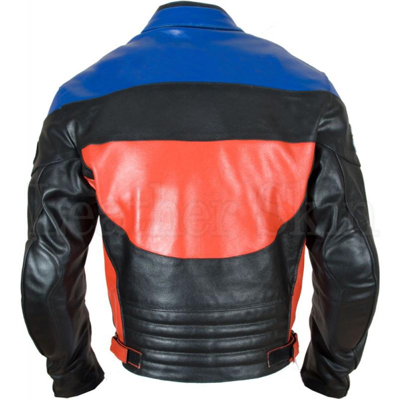 Black Leather Jacket for Men with Red Blue Patches (Back)