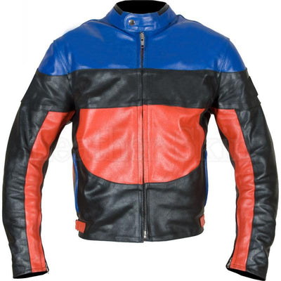 Black Biker Genuine Leather Jacket with Blue Red Stripes