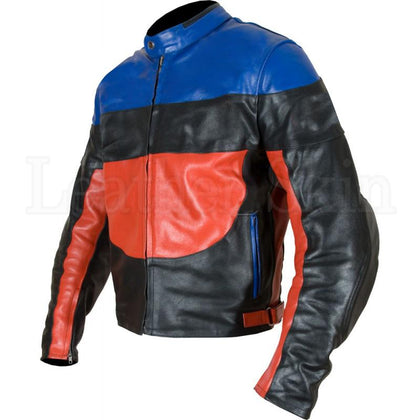 Men Black Biker Jacket with Red Blue Patches