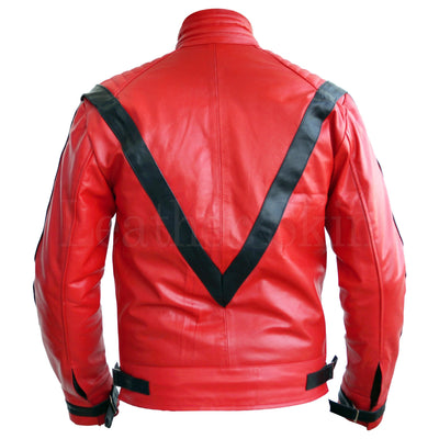 Men Red Thriller Real Leather Jacket Michael Jackson Style