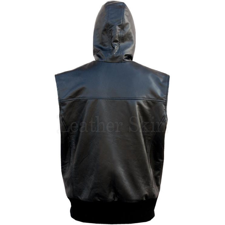 Men Black Hooded Real Leather Vest with Elastic Bottom (Back)