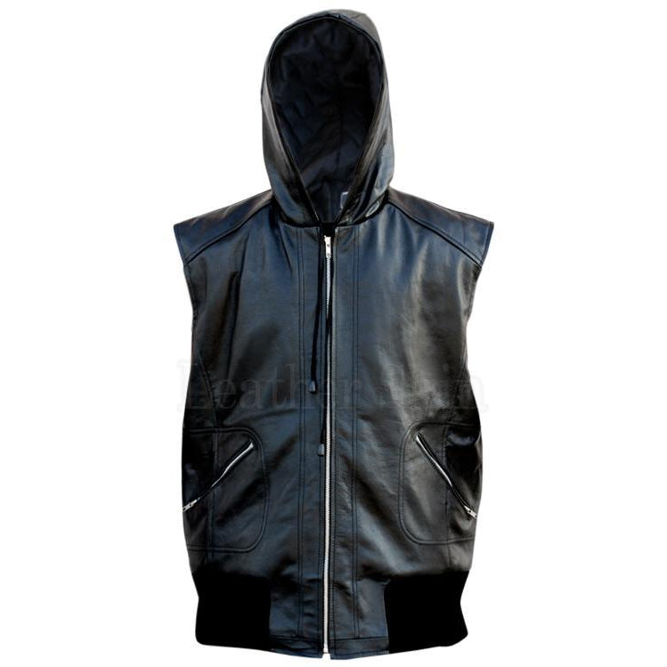 Men Black Genuine Hooded Leather Vest with Elastic Bottom
