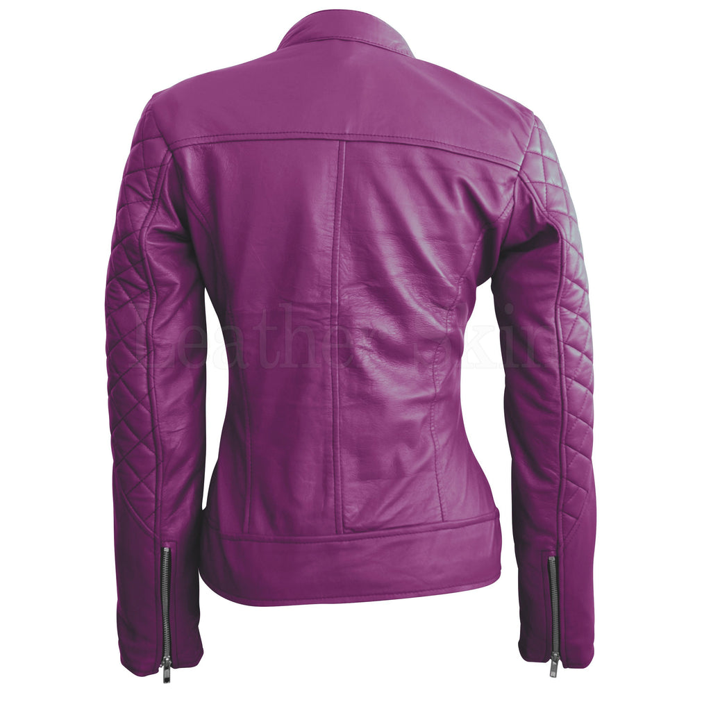 Leather Skin Women Purple Shoulder Quilted Genuine Leather Jacket