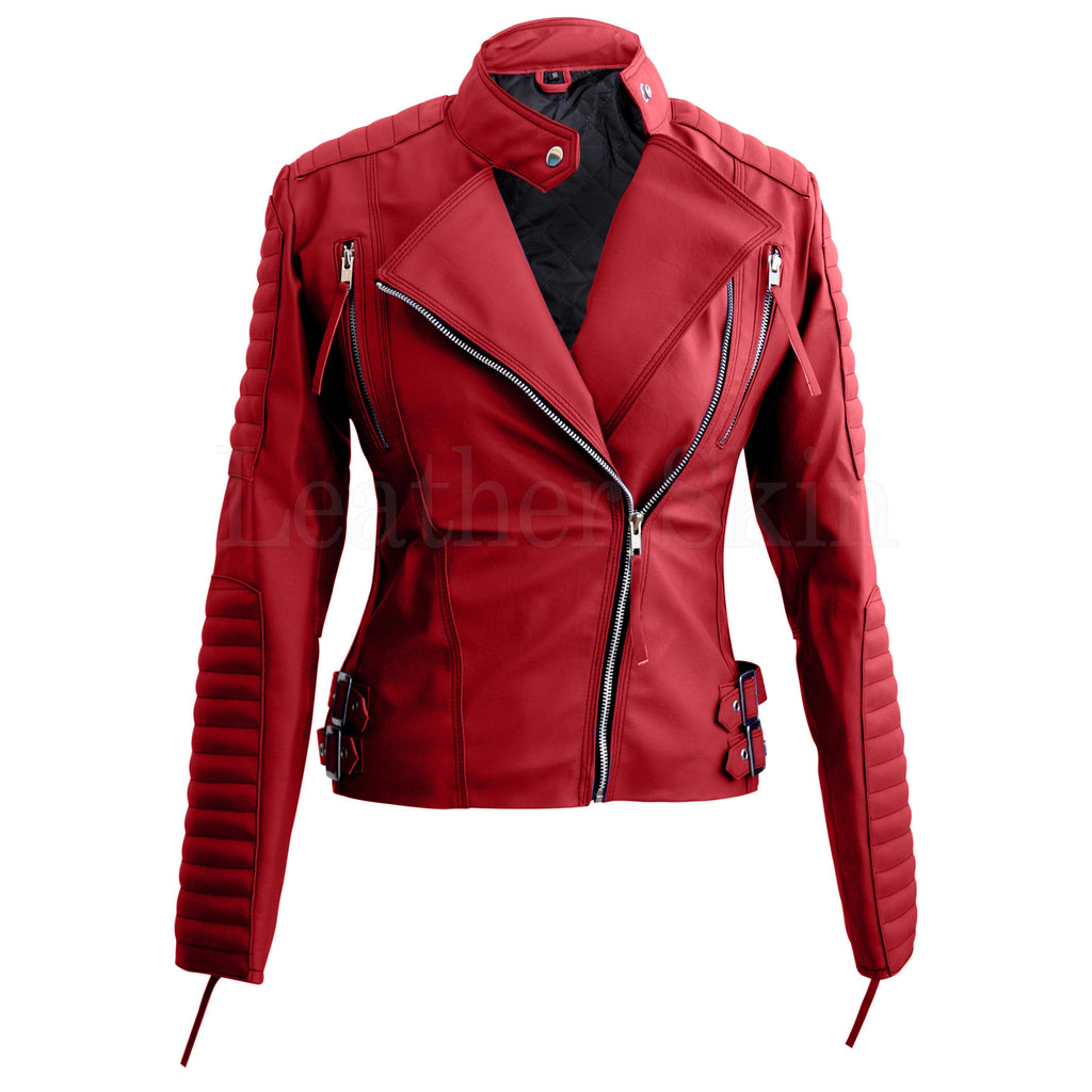 Women Red Shoulder Quilted Faux Leather Jacket