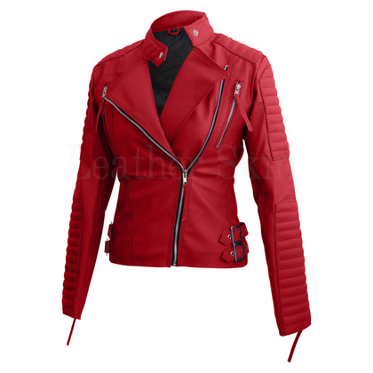 Buy Women Quilted Faux Leather Jacket Online