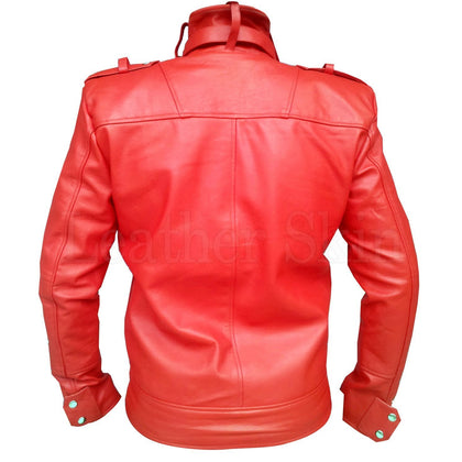 Men Red Leather Jacket (Back)