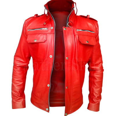 Men Red Genuine Leather Jacket with Front Pockets
