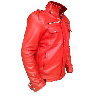 Red Leather Jacket for Men with Shoulder Epaulettes