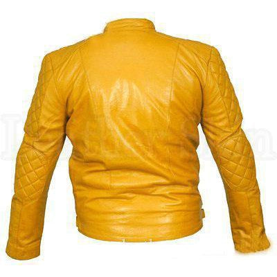 Men Women Yellow Real Leather Jacket with Quilted Shoulders