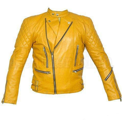 Unisex Yellow Shoulder Quilted Genuine Real Leather Jacket