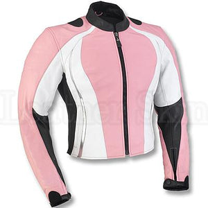 Leather Skin Pink Motorcycle Biker Racing Premium Genuine Real Leather Jacket