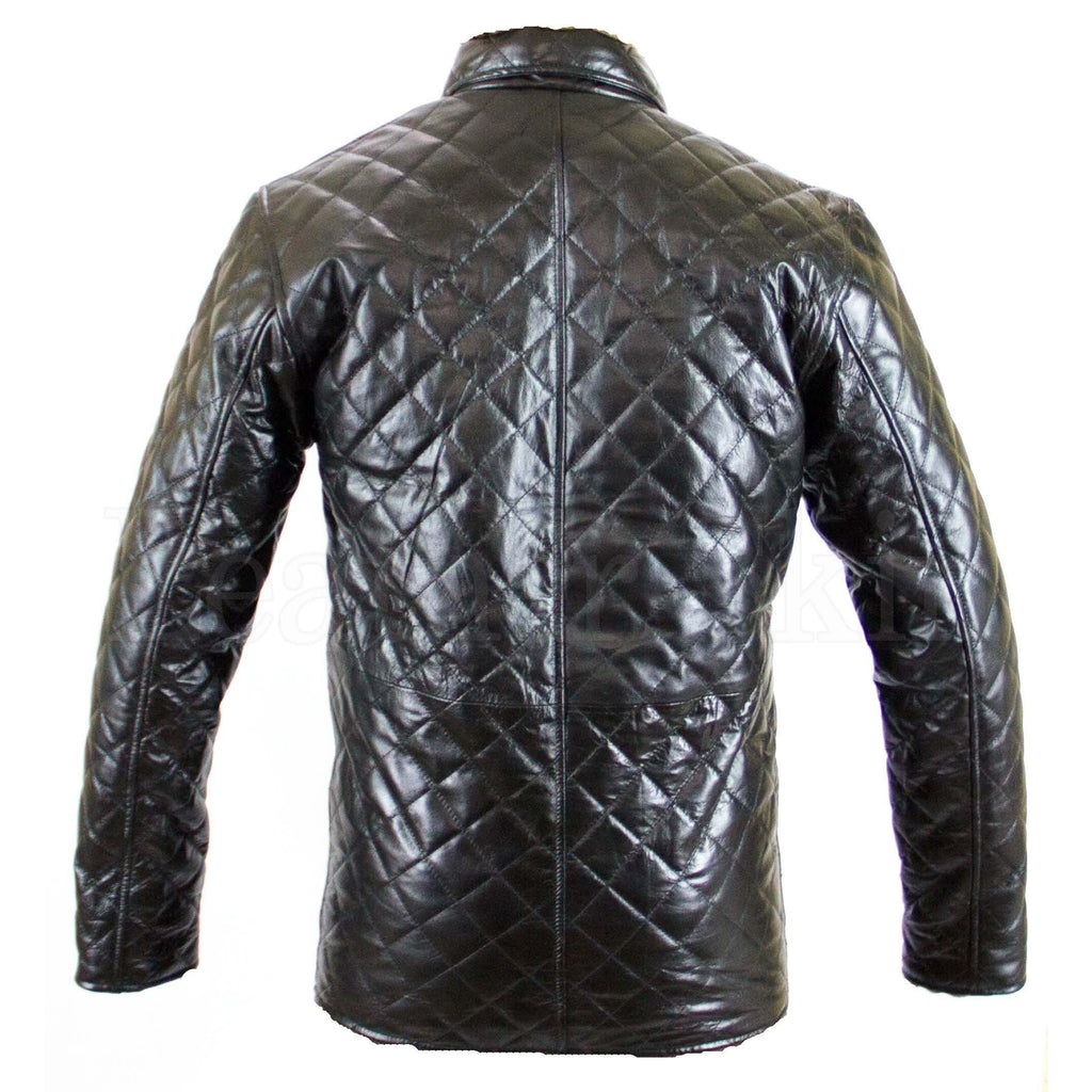 Quilted Real Leather Jacket for Men (Back)