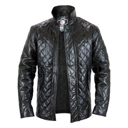 Men Black Diamond Quilted Genuine Leather Jacket Front Buttons