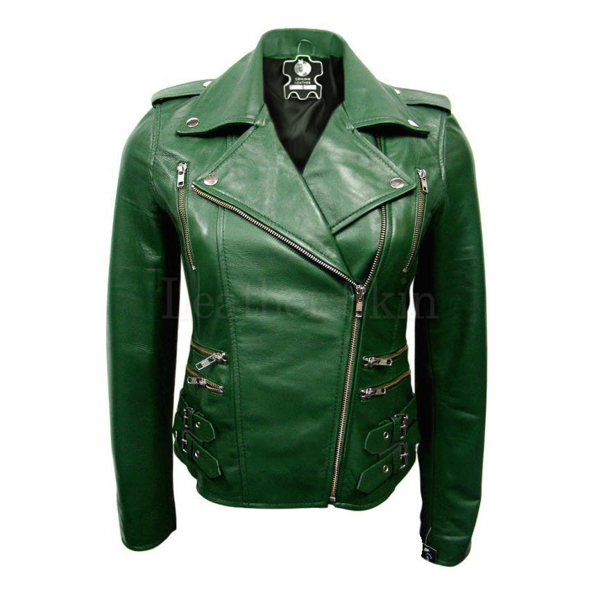 Leather Skin Women Green Brando Premium Genuine Leather Jacket