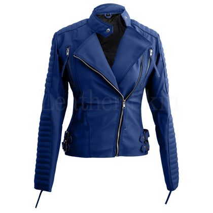 Women Blue Quilted Faux Leather Jacket Front