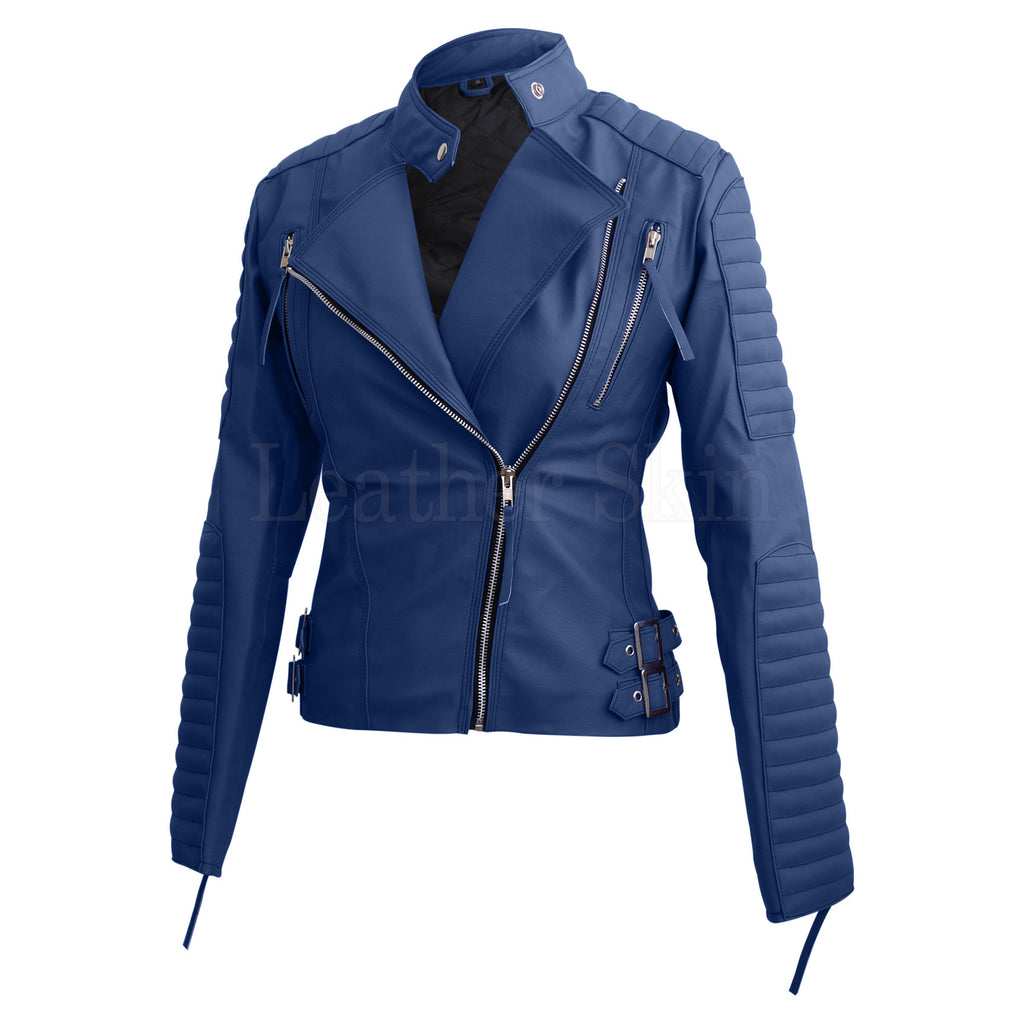 Ladies Faux Blue Leather Jacket