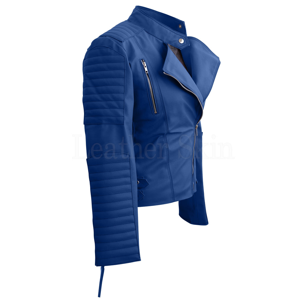 Women Blue Synthetic Leather Jacket
