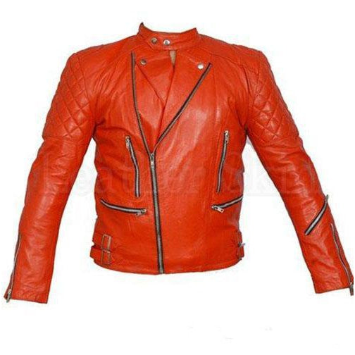 Leather Skin Men Red Brando Shoulder Quilted Biker Motorcycle Genuine Leather Jacket