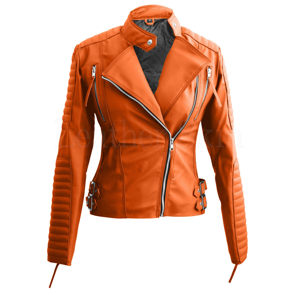 Women Orange Quilted Faux Leather Jacket