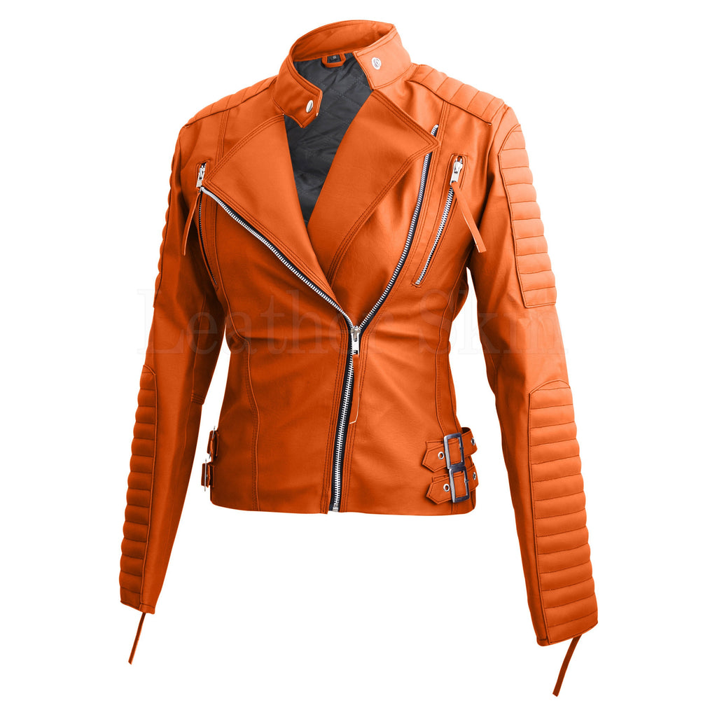 Buy Women Orange Leather Jacket Online