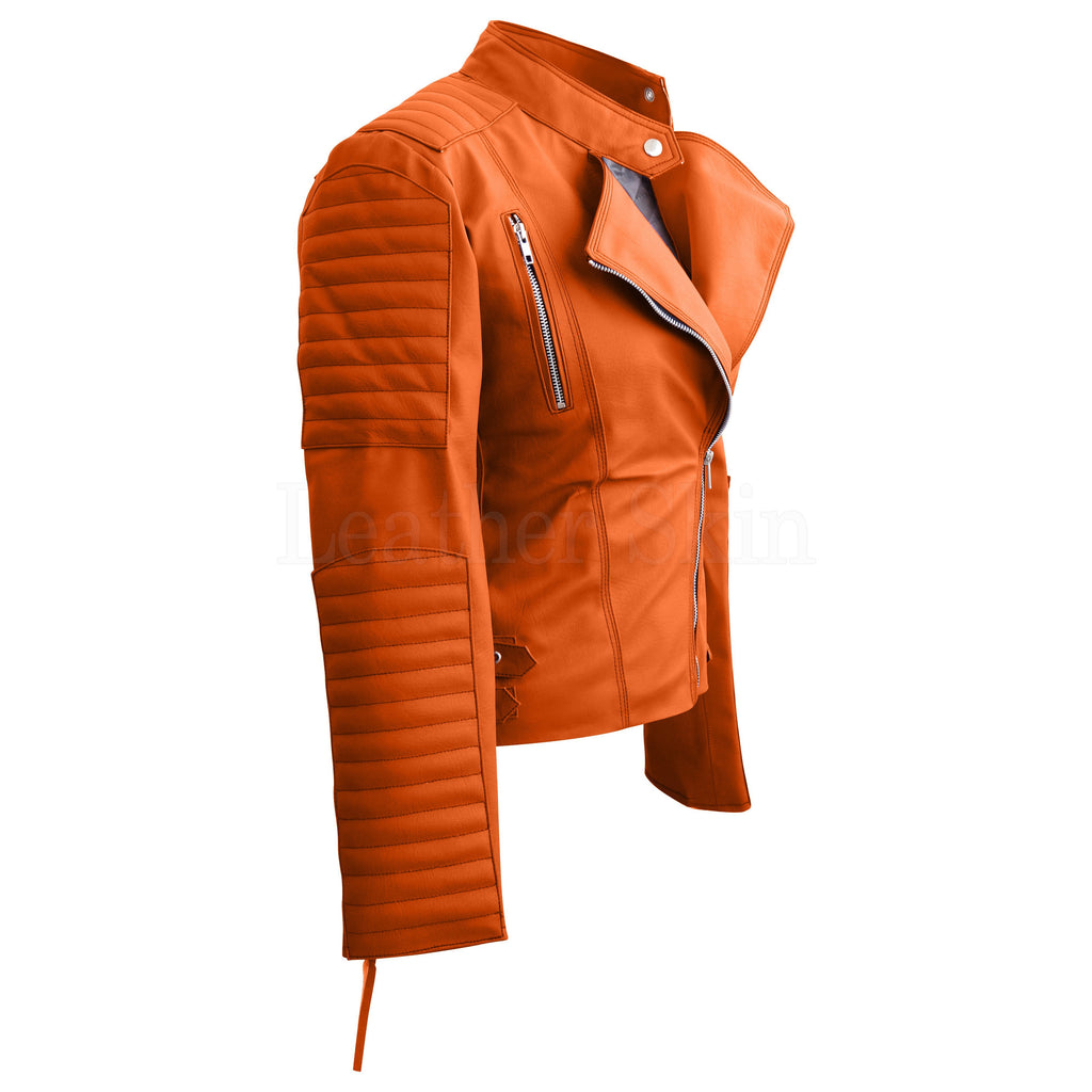 Women Shoulder Quilted Orange Faux Leather Jacket