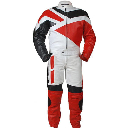 White Biker Leather Jacket with Red Black Design