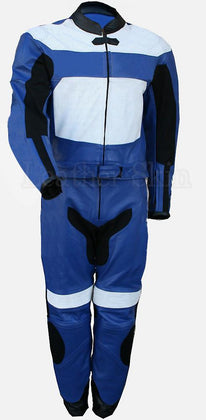 Men Blue Biker Leather Suit with White Patches
