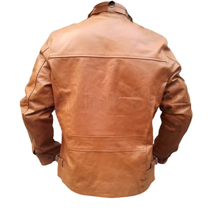 Brown Chest Pockets Men Genuine Leather Jacket (Back)