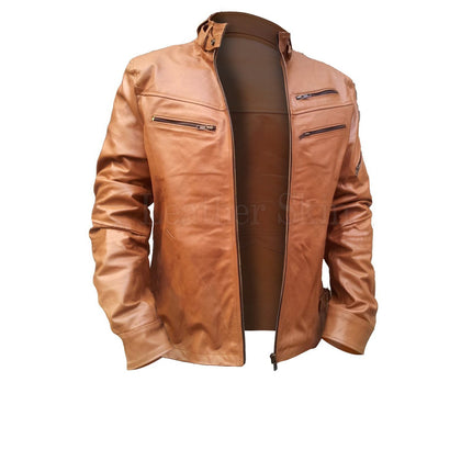 Men Brown Real Leather Jacket with Chest Pockets
