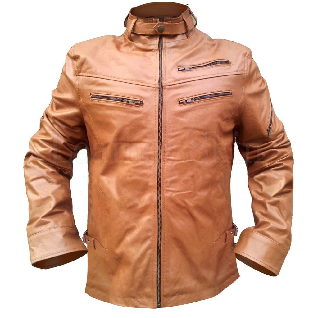 Men Brown Genuine Leather Jacket with Chest Pockets