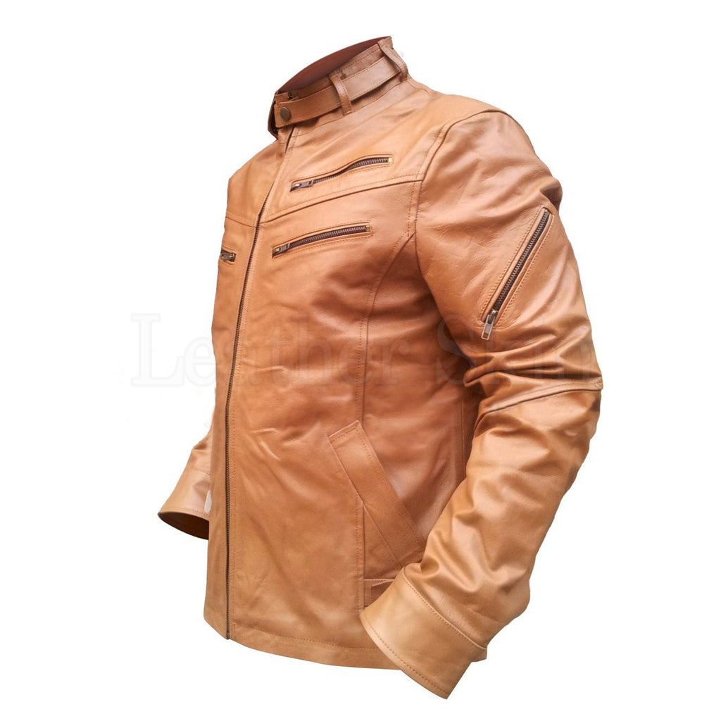 Brown Leather Jacket for Men with Chest Pockets
